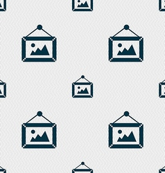 Picture icon sign seamless pattern with geometric vector