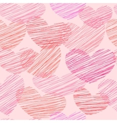 Seamless pattern with sketched hearts vector