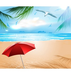Beach with sun umbrella vector
