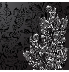 Black background with decorative abstract flowers vector