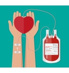 Blood bag and hand of donor with heart donation vector