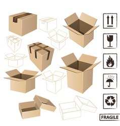 Cardboards with symbols set vector image vector image