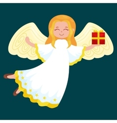 christmas holiday flying angel with wings and vector image