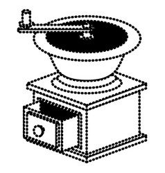 Coffee grinding with crank side view silhouette vector