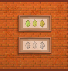 decorative brick wall background with two interior vector image vector image