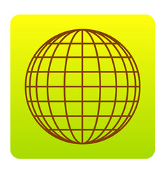 earth globe sign brown icon at green vector image vector image