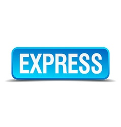 Express blue 3d realistic square isolated button vector