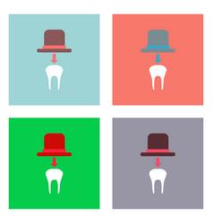 Flat icon design collection dental crown vector