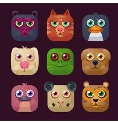 Funny Animal Icon Set vector image vector image