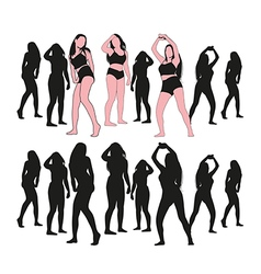 Girl dance set vector