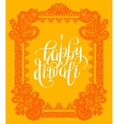 Happy diwali greeting card with paisley ornamental vector