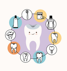 kawaii caricature healthy tooth dental care with vector image