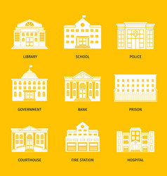 Municipal buildings white icons vector