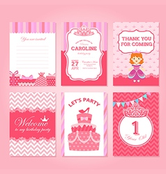 Princess birthday party invitation template vector