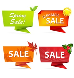 Sale Origami Banners Set vector image vector image