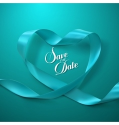 Save the date turquoise ribbon heart vector