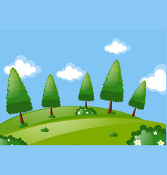 scene with trees in park vector image