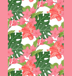 Seamless pattern with exotic flowers and leaves vector