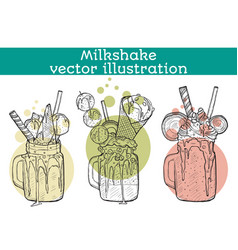 Set of different milkshakes chocolate strawberry vector