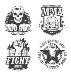 Set of four mma emblems vector