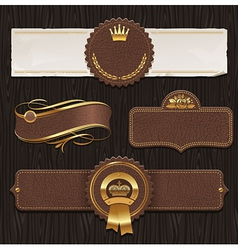 Set of leather golden framed labels vector image vector image