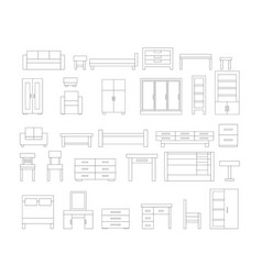 Set of linear furniture icons vector