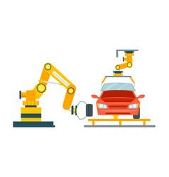 smart robotic automotive assembly line vector image vector image