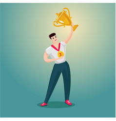sportsman is holding a golden cup cartoon vector image