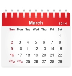 Stylish calendar page for March 2014 vector image