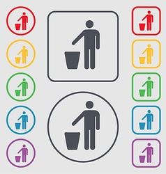 Throw away the trash icon sign symbol on the round vector