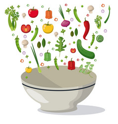 Vegetables falling bowl mix food image vector