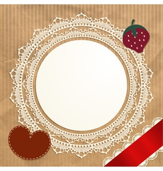 Vintage doily on the old paper background vector image
