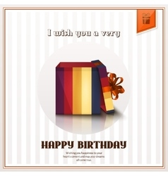 Happy birthday greeting card with open gift box vector