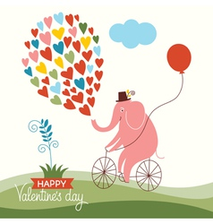 Cute elephant on a bike valentine card vector