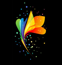 Bright beautiful decorative flower on black vector