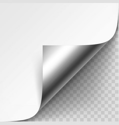 Curled metalic corner of white paper vector