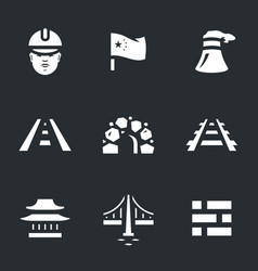 Set of china construction icons vector