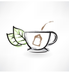 tea cup grunge icon vector image