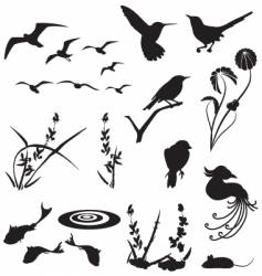 Animal and floral silhouettes vector