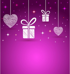 Hearts and gift box shape greeting card vector