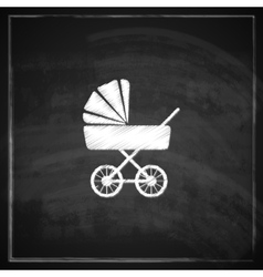 Vintage with a pram on blackboard background vector