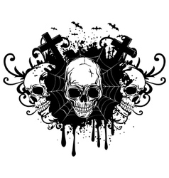 Abstract background and three skulls vector