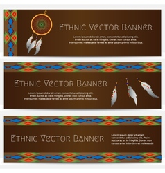 Ethnic banners with dream catcher vector