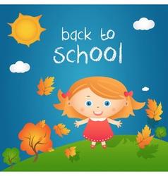 Cartoon of happy little girl in autumn landscape vector image