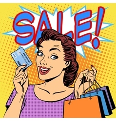 Woman purchases discounts credit card sale vector