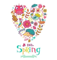 Hello spring banner in doodle style vector