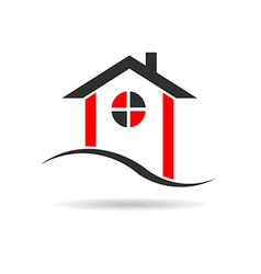 House with circle window logo vector