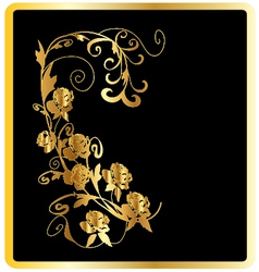 Gold roses card vector