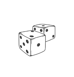 Two white cartoon-style dice cubes vector