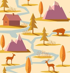 Seamless Winter Mountain Pattern vector image